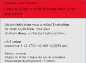 Windows 10 : Cette application a été bloquée pour votre protection… [Résolu]