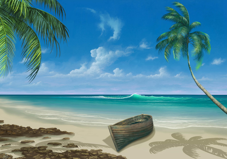T l charger dessins arts divers peinture plage gratuitement - Image de plage paradisiaque ...