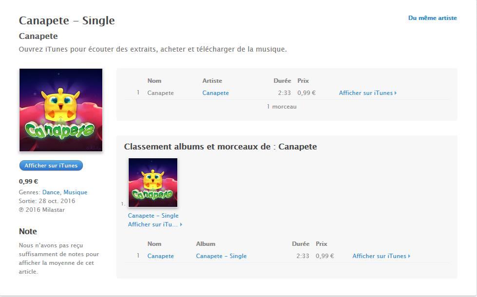 Canapète sur iTunes