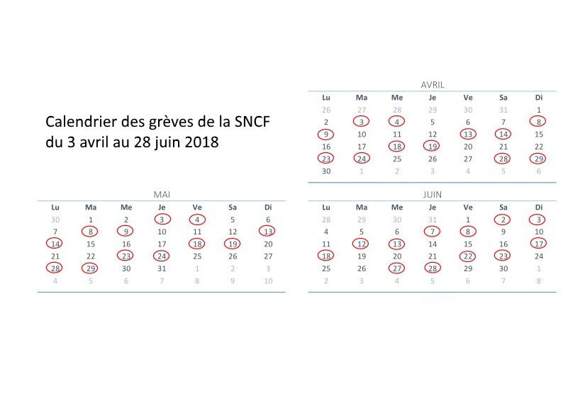 Calendrier grèves SNCF 2018