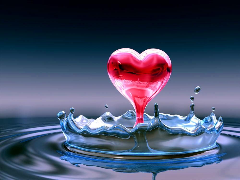 T l charger fonds d 39 cran water red heart gratuitement for Fond ecran amour