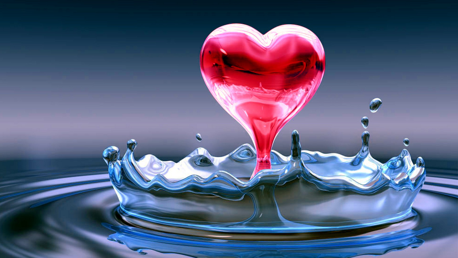 Image coeur full hd - coeur, water heart, rouge, 3D, eau, amour, love