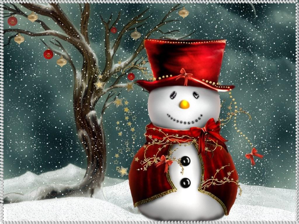 Image joyeux noël - Noël, Christmas, père noël, rouge, neige, hiver, bonhomme de neige