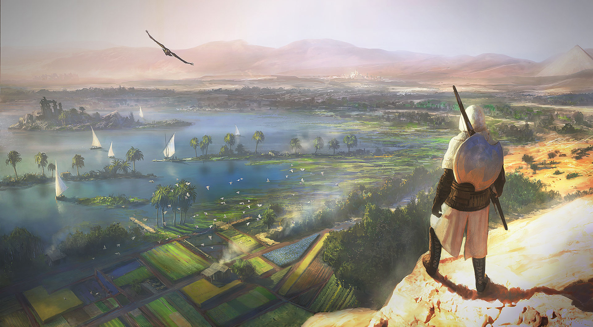 Assassin's Creed surplombant la vallée du Nil