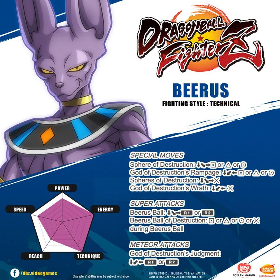 Les coups spéciaux de Beerus - DragonBall FighterZ