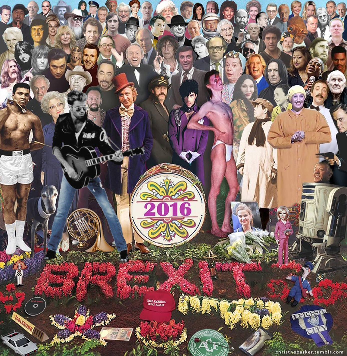 Les artistes morts en 2016 façon Sergeant Pepper