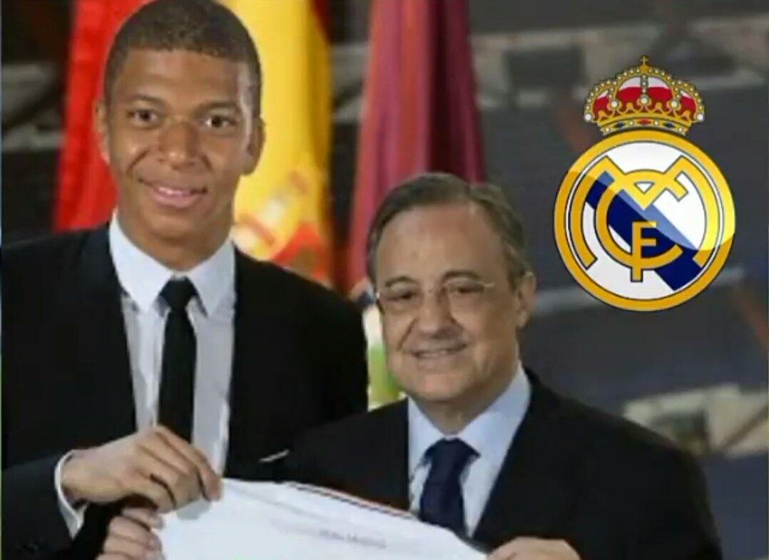 Kylian Mbappe et Florentino Pérez le président du Réal Madrid