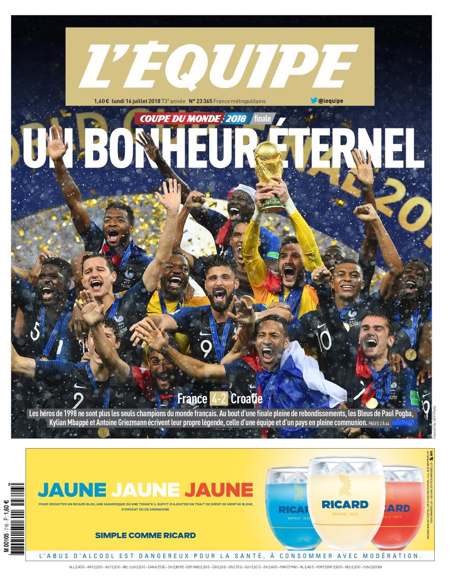 La Une de l'Equipe pour la victoire des Bleus à la Coupe du Monde 2018