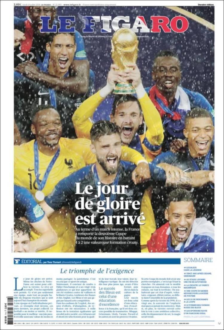 """""""Le jour de gloire est arrivé"""", c'est la Une du Figaro pour la victoire des Bleus à la Coupe du Monde 2018"""