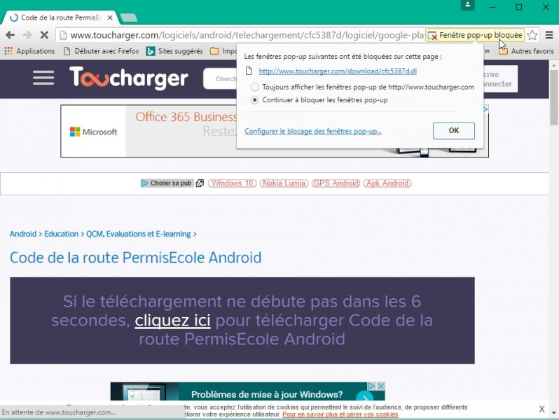 Comment t l charger des applications android via toucharger for Bloquer fenetre pop up chrome