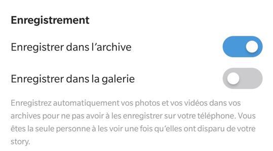 Instagram stories sauvegarde