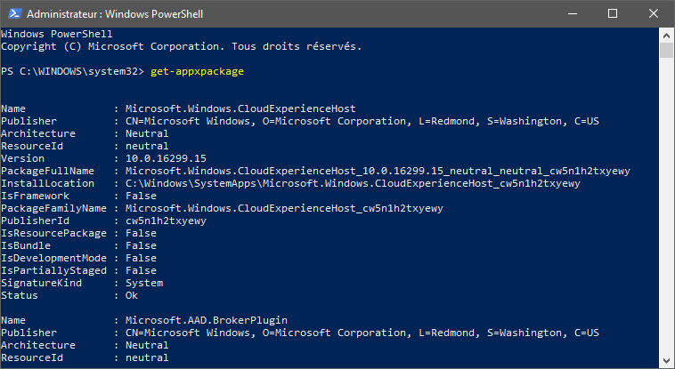 Commande Get-appxpackage Powershell