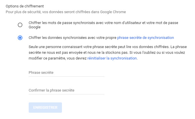 Google chrome vie privée