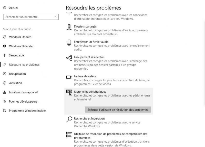 résoudre les problèmes windows 10