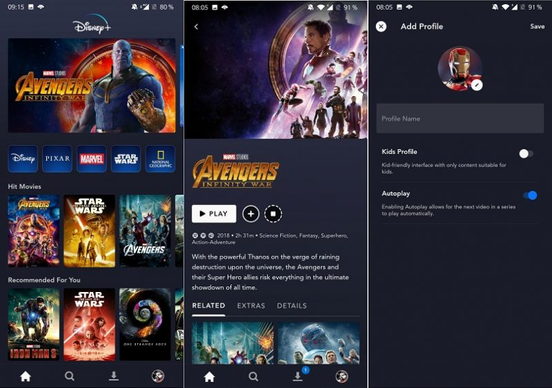 DisneyPlus interface