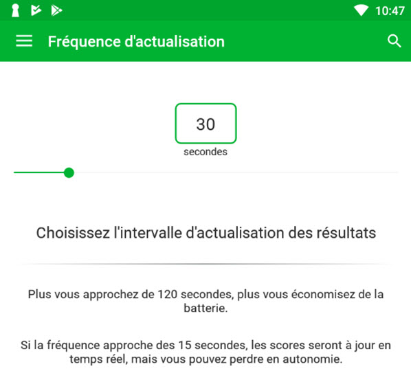 Fréquence actualisation skores