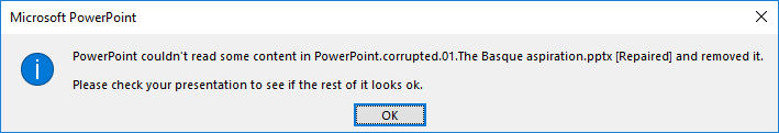 Corrupted file powerpoint