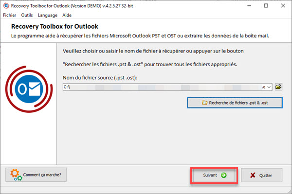 COMMENT RÉPARER UN FICHIER .OST OU .PST AVEC RECOVERY TOOLBOX FOR OUTLOOK ? Recovery%20Toolbox-3