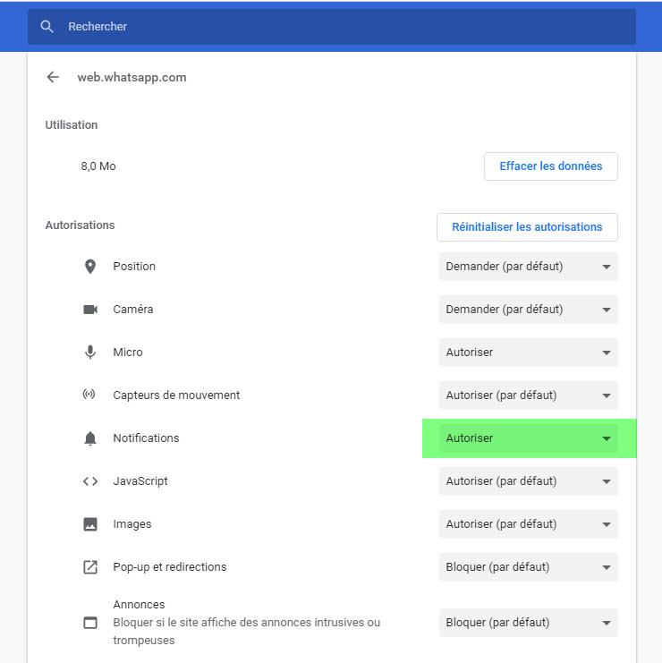 Bloquer notifications d'un site dans Chrome
