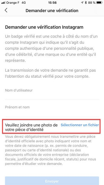 Demander une vérification Instagram